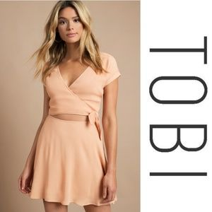 NWT TOBI Sparks Fly Peach Wrap Dress